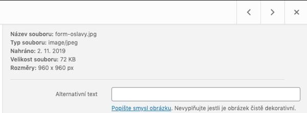 Alt text ukázka Wordpress