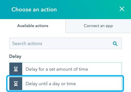 HubSpot workflow - Delay until