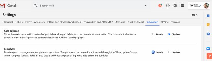 Gmail povolení šablon