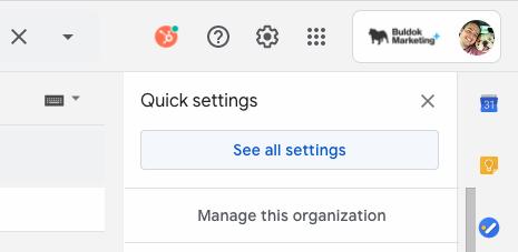 Gmail tlačítko nastavení