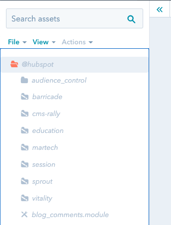 HubSpot Folder v Design Manageru