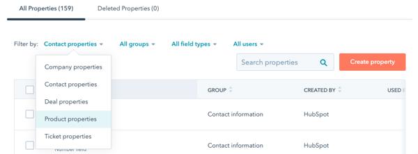 Vlastní property pro produkty v HubSpotu
