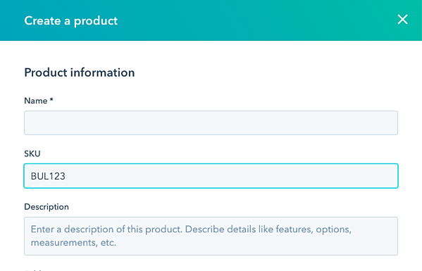 SKU product property in HubSpot