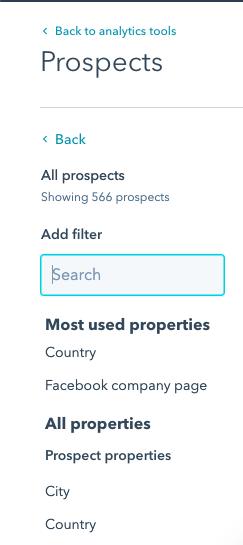 Prospects ukázka filtrů